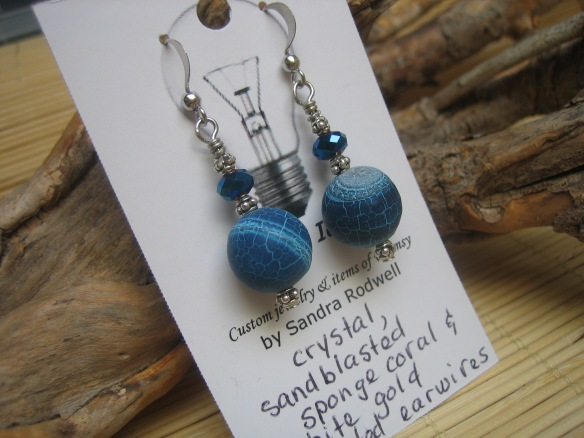 sandblasted sponge coral, crystal earrings with white gold plated earwires