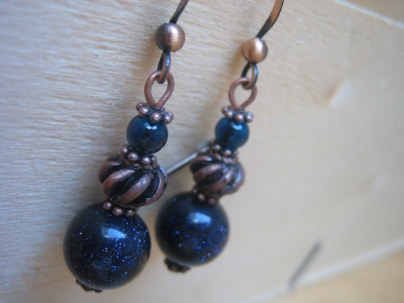 copper and blue sandstone earrings