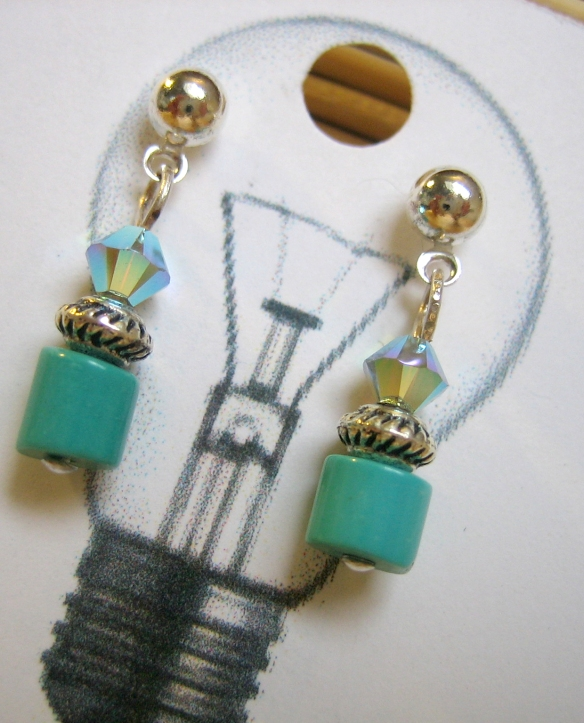 turquoise, Swarovski crystal and sterling silver plated ear posts