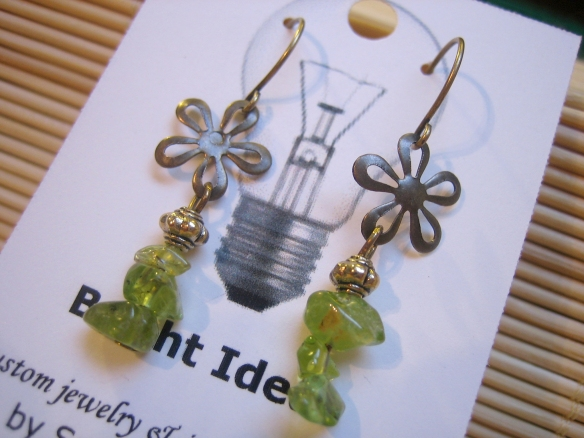 brass and peridot earrings