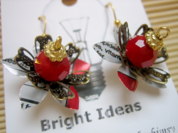 crystal, brass and upcycled Coke cans with 18K gold plated earwires
